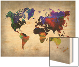 World Watercolor Map 12 Poster