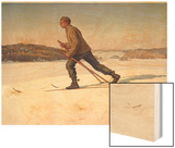 Swedish Ski-Runner at Bjorko Wood Print by Gunnar Halstrom