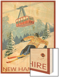 New Hampshire - Skier and Tram Wood Print by  Lantern Press