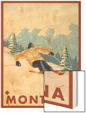 Downhhill Snow Skier, Montana Wood Print by  Lantern Press