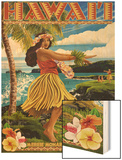 Hawaii Hula Girl on Coast - Merrie Monarch Festival Wood Print by  Lantern Press