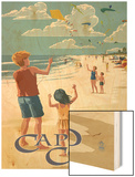 Cape Cod, Massachusetts - Kite Flyers Wood Print by  Lantern Press