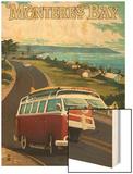 Monterey, California - VW Van Wood Print by  Lantern Press