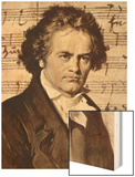 Ludwig Van Beethoven with One of His Manuscripts Wood Print