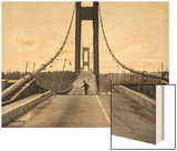 Tacoma, Washington - November 7, 1940 - Tacoma Narrows Bridge - Man on Bridge Wood Print by  Lantern Press