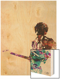 Hendrix With Guitar Watercolor Wood Print by  NaxArt