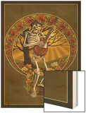Skeleton and Guitar Wood Print by  Lantern Press