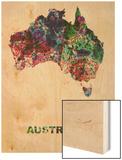 Australia Color Splatter Map Wood Print by  NaxArt