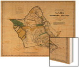 Hawaii - Panoramic Oahu Island Map Wood Print by  Lantern Press