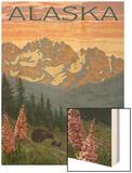 Alaska - Bear and Cubs Spring Flowers Prints by  Lantern Press