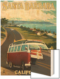 Santa Barbara, California - VW Van Scene Wood Print by  Lantern Press