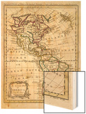 Map of North and South America Wood Print by J. Gibson