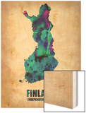 Finland Watercolor Poster Wood Print by  NaxArt