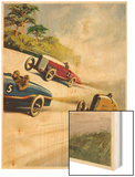 Racing Cars of 1926: Oddly One Car is Carrying Two People the Others Only One Wood Print by Norman Reeve
