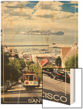San Francisco, California - Cable Car and Alcatraz Island Wood Print by  Lantern Press