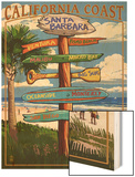 Santa Barbara, California - Sign Destinations Wood Print by  Lantern Press
