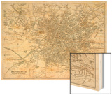Map of Manchester and Its Environs Wood Print by J. Bartholomew