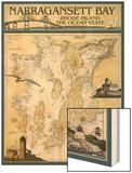 Narragansett Bay, Rhode Island Nautical Chart Wood Print by  Lantern Press