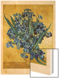 Vase of Irises Against a Yellow Background, c.1890 Wood Print by Vincent van Gogh