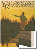 Yellowstone River, Montana - Fly Fishing Scene Wood Print by  Lantern Press