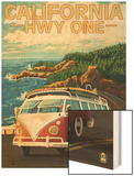 California Highway One Coast VW Van Wood Print by  Lantern Press