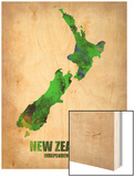 New Zealand Watercolor Map Wood Print by  NaxArt
