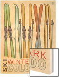 Winter Park, Colorado - Skis in Snow Wood Print by  Lantern Press