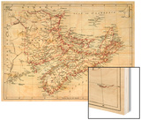 Map of Nova Scotia, Prince Edward Island, and New Brunswick, 1870s Wood Print