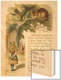 Alice and the Cheshire Cat Wood Print by John Tenniel