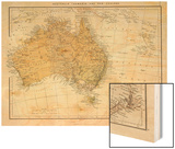 Map Showing Australia Tasmania New Zealand and Neighbouring Islands Prints