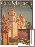 Old Mission - Santa Barbara, California Wood Print by  Lantern Press