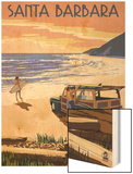 Santa Barbara, California - Woody on Beach Wood Print by  Lantern Press