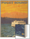 Ferry and Mountains, Puget Sound, Washington Wood Print by  Lantern Press