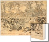 At Rugby School a Crowd of Schoolboys Run after the Ball at Rugby Wood Print by Walter Thomas