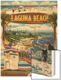 Laguna Beach, California - Montage Scenes Wood Print by  Lantern Press