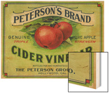 Hollywood, California - Peterson's Cider Vinegar Label Wood Print by  Lantern Press
