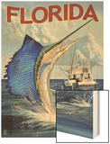 Florida - Sailfish Scene Wood Print by  Lantern Press