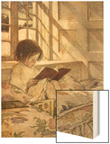 Chlld Reading on Couch, 1905 Wood Print by Jessie Willcox-Smith