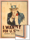 I Want You for the U.S. Army Wood Print by James Montgomery Flagg