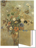 Bouquet of Flowers with Butterflies Wood Print by Redon Odilon