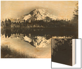 Mount Rainier From Spanaway Lake, 1922 Wood Print by Asahel Curtis
