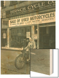 Man on Harley Davidson Motocycle at Hirsch Cycle Co., 1927 Wood Print by Chapin Bowen