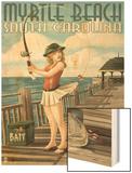 Myrtle Beach, South Carolina - Pinup Girl Fishing Wood Print by  Lantern Press