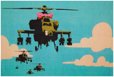 Apache Helicopter With Bow - Poster