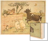 The Cow Jumped Over the Moon Wood Print by Randolph Caldecott