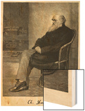 Charles Darwin English Naturalist Sitting in a Chair Wood Print by Thomas Johnson