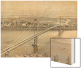 Tacoma Narrows Bridge from Gig Harbor Towards Tacoma, WA (ca. 1950) Wood Print