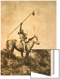 The Challenge (Yakama Warrior on Horseback, 1911) Wood Print by Eugene Everett Lavalleur and L.V. McWhorter