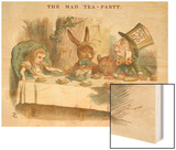 Alice at the Mad Hatter's Tea Party Wood Print by John Tenniel