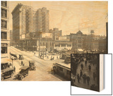 Second Avenue and Yesler Way, Seattle, 1916 Wood Print by Ashael Curtis